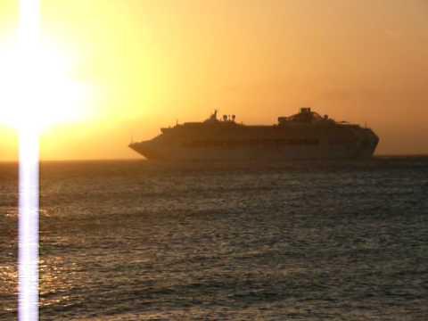 Cruise Ship Sunset Cayman Islands