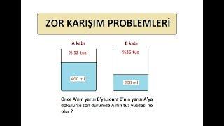 ZOR KARIŞIM PROBLEMLERİ-KISA YOLDAN ÇÖZÜMLER