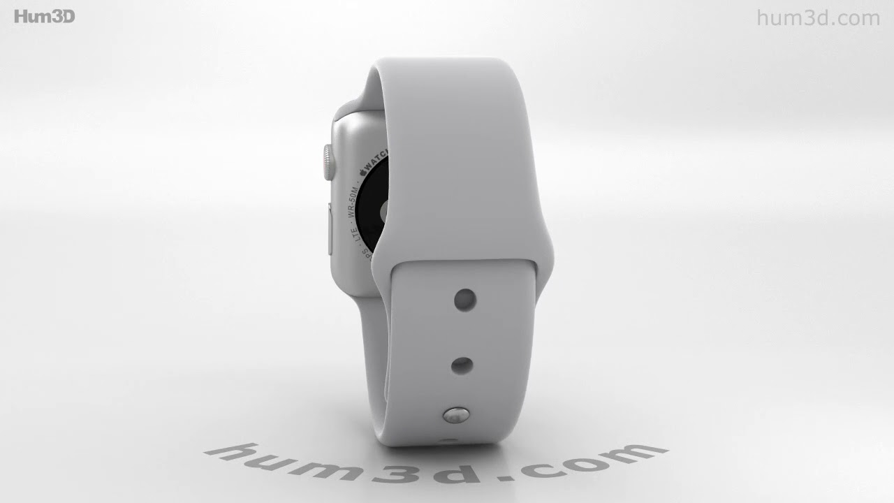 outlet store 88183 d872d Apple Watch Series 3 38mm GPS + Cellular Silver Aluminum Case Fog Sport  Band 3D model by Hum3D.com