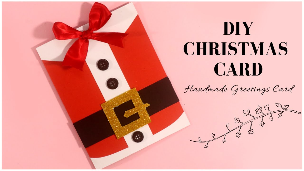santa claus christmas card  handmade greetings card for