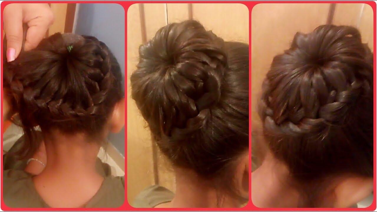 How To Lace Braid BUN Hairstyle Pinwheel Bun YouTube