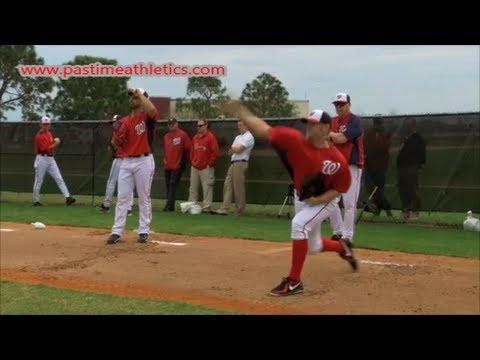 Stephen Strasburg Slow Motion Baseball Pitching Mechanics - Washington Nationals Drills Tips MLB