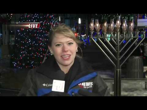 Chabad-Lubavitch Lit Menorah in Downtown Rochester, Minnesota