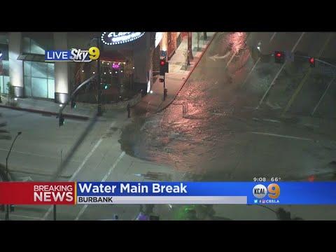 Water Main Break In Burbank Floods Busy Intersection