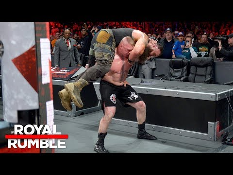 Brock Lesnar puts Braun Strowman through the announce table: Royal Rumble 2018 (WWE Network)