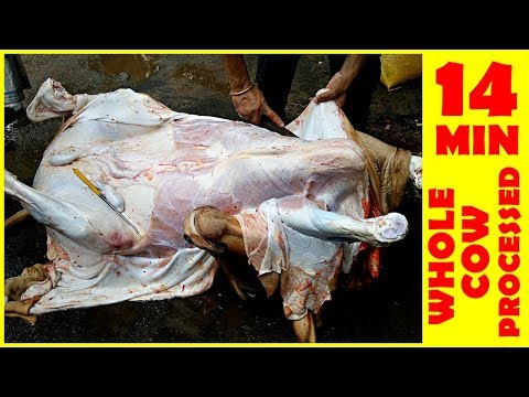 Whole Cow Processed In Under 14 Minutes! MOST FASTER Butcher Cow Meat Processing Dhaka Bangladesh