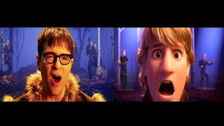 "Gambar cover Kristoff (Jonathan Groff), Weezer - Lost In The Woods (From ""Frozen 2"") Split-Screen Comparison"