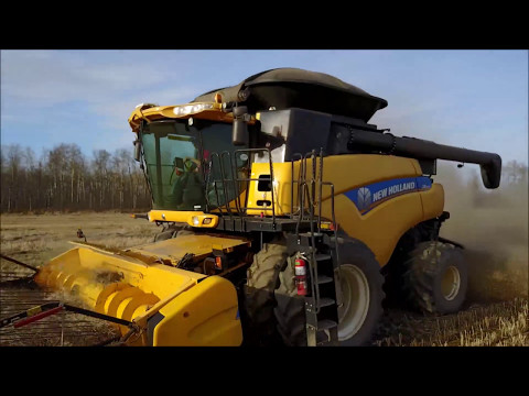 Harvest time 2017. Alberta, CANADA. NEW HOLLAND CR9090 and JOHN DEERE 9620