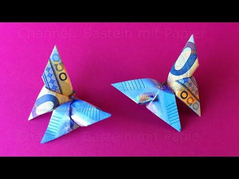 Geldscheine falten Schmetterling - Schmetterling aus Geld falten - Geldgeschenke basteln - Origami