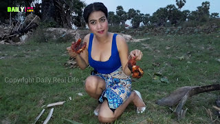 Amazing Pretty girl Cooking pork legs Recipes my Village - How to Grill Pork Legs on rice fields