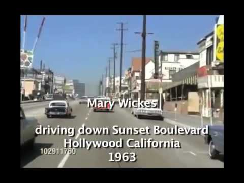 Mary Wickes drives down Sunset Blvd. 1963?