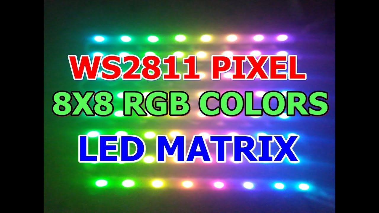 22# WS2811 Neo Pixel || 8X8 MATRIX || Display || RGB COLORS(sen electronics  projects)