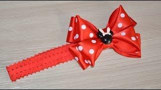Повязка на голову с бантиком Минни Маус/Headband with bow Minnie mouse