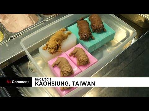 La última moda en Taiwán: helados con forma de perritos