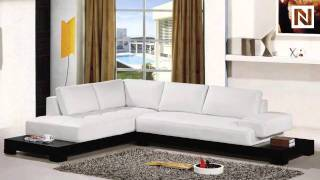 Contemporary White Leather Sectional Sofa VGEV2226B