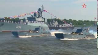 Парад кораблей Каспийской флотилии: кадры генеральной репетиции ко Дню ВМФ в Астрахани