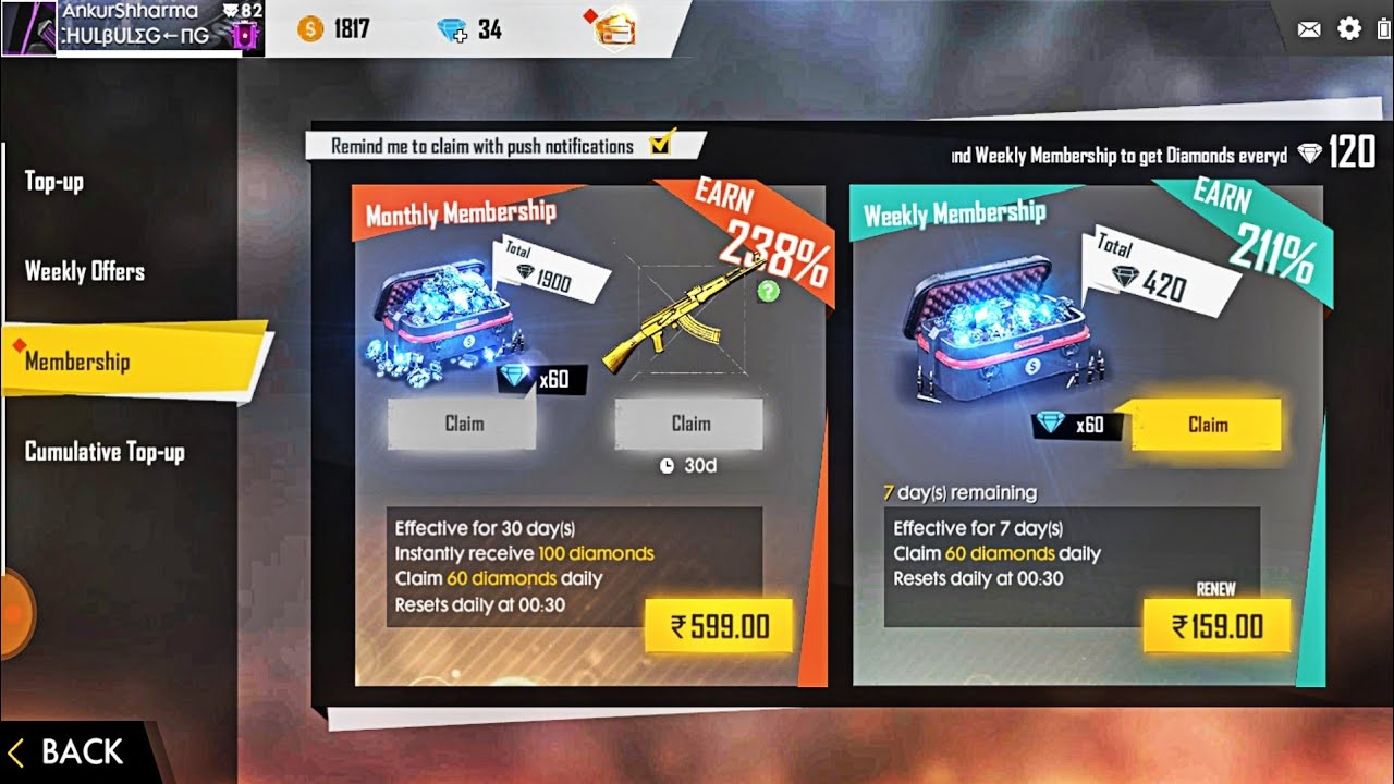 How To Buy Weekly Membership In Garena Free Fire With Paytm App Youtube