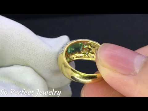 DAZZLING 1.86TCW EYE-CLEAN COLOMBIAN Emerald Diamond 18K Solid Gold Ring Natural