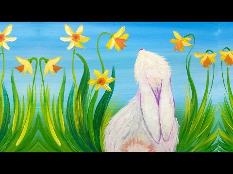 Simple spring bunny and daffodils acrylic painting for for Spring canvas paintings