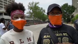 Handing out masks in Tulsa