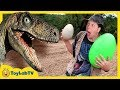 Park Ranger Takes Dinosaur Egg! Raptors Chase Aaron on Surprise Eggs Toy Hunt, Family Fun Kids Toys