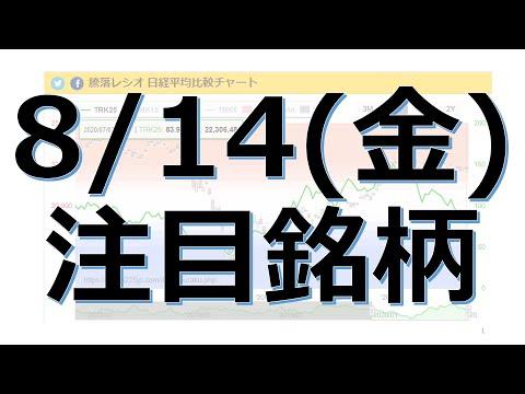 【8月14日(金)の注目銘柄】本日の株式相場振り返りと明日の注目銘柄を解説