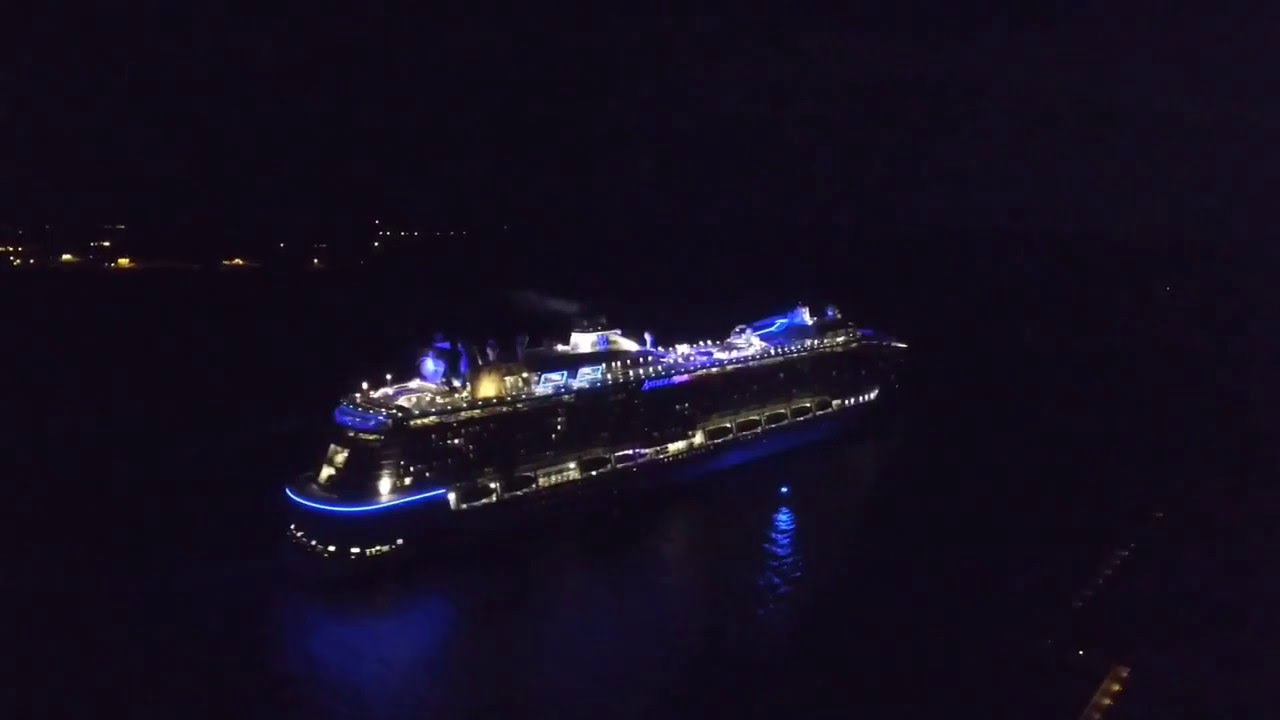 Cruise Ship At Night Port Canaveral Drone  YouTube