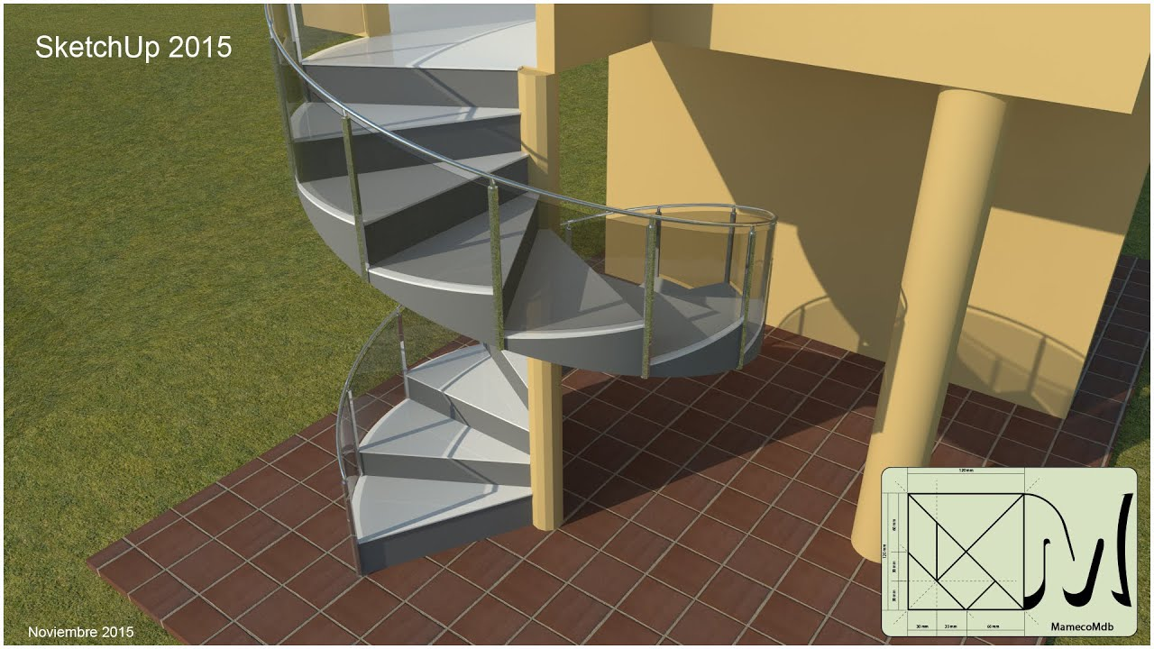 Sketchup crear escalera caracol youtube for Escalera caracol 2 pisos