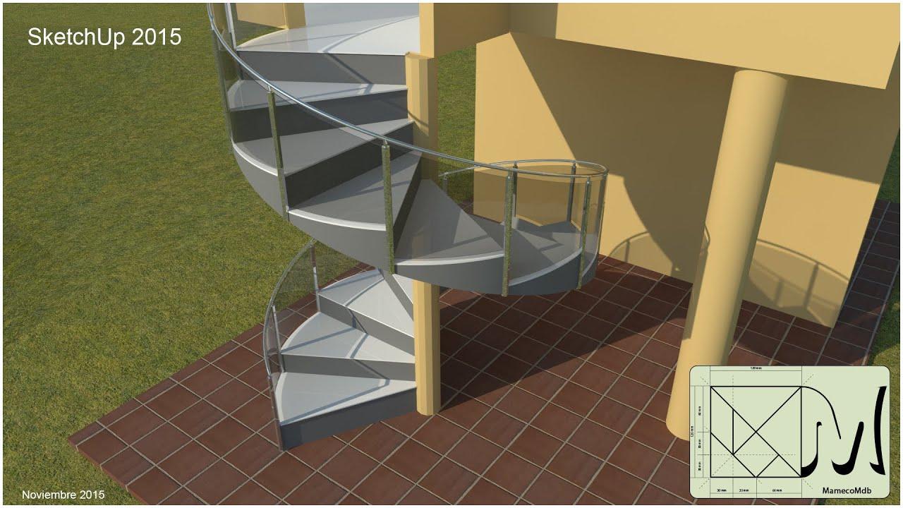 Sketchup crear escalera caracol youtube for Escalera caracol 2 pisos