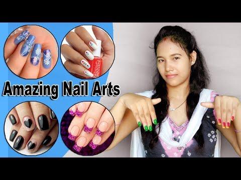 Nail polish designs easy at home without tools in hindi