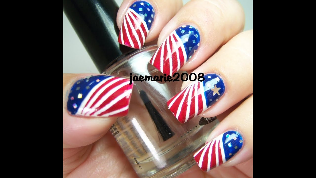 4th of july nail design 2012 youtube prinsesfo Choice Image