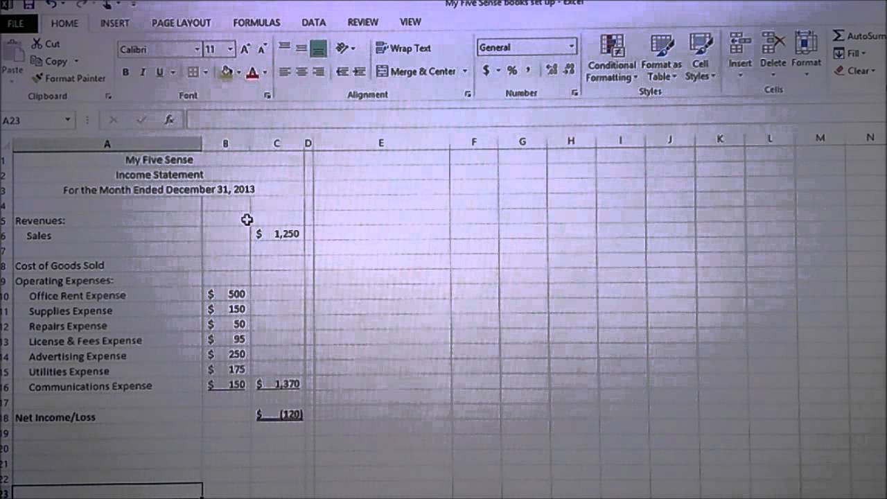 excel for small business accounting