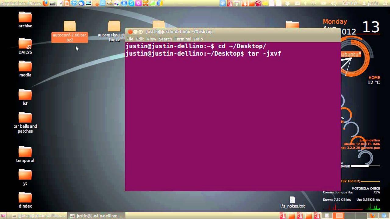 extract a tar bz2 in ubuntu 12 04