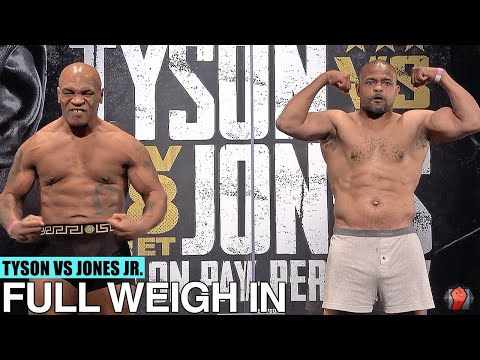 MIKE TYSON VS. ROY JONES JR. | FULL WEIGH-IN AND FACE OFF VIDEO