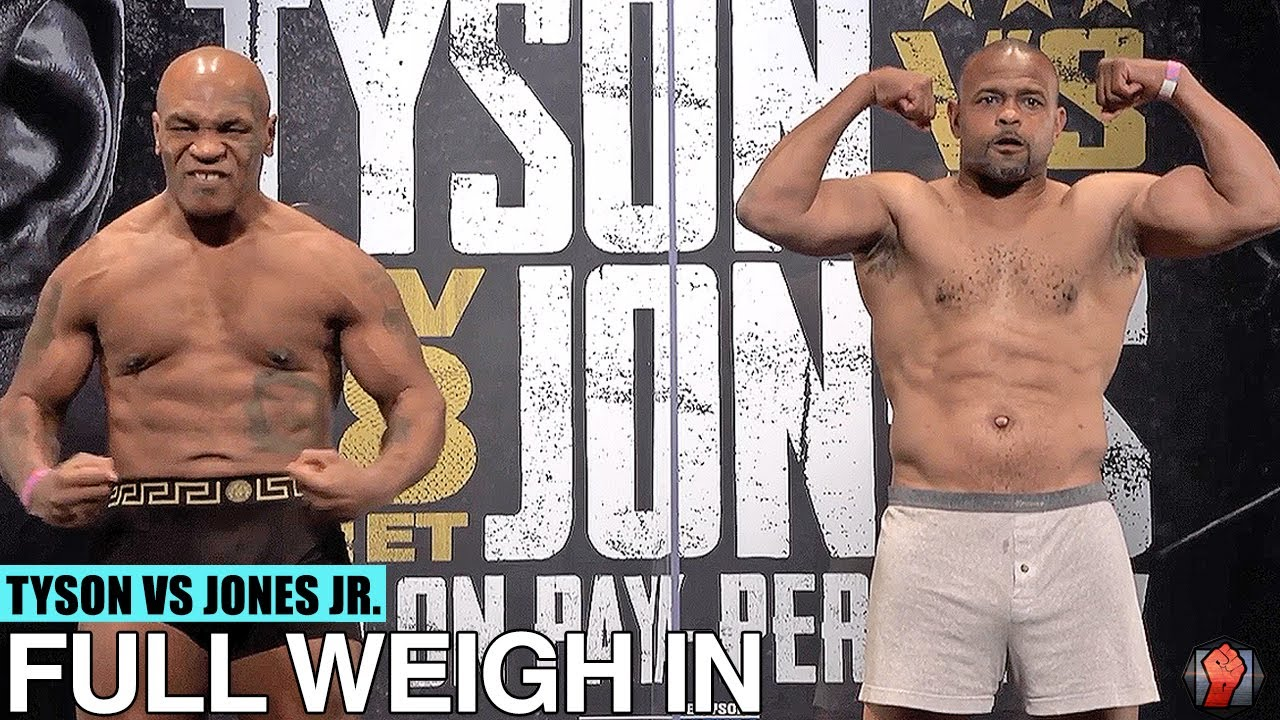 Mike Tyson Vs Roy Jones Jr Full Weigh In And Face Off Video Youtube
