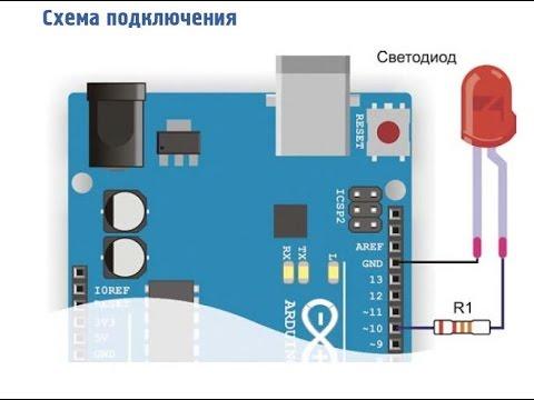 Arduino урок 2 работа с светодиодом