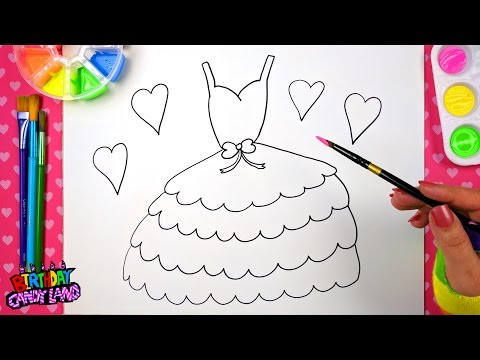 Drawing For Kids To Learn How To Color Draw And Paint Pretty Layered Dress Step By Step