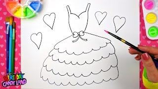Drawing for Kids to learn how to color, draw and paint a pretty layered dress step by step