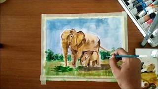 How to Paint Baby Elephant and Mother Elephant in Watercolors | Easy Watercolor Painting Lesson