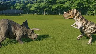 6 Triceratops VS 3 Ceratosaurus Jurassic World Evolution 100% Genom...