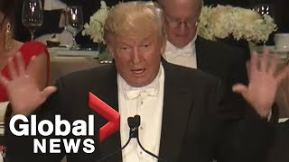 Full monologue: Donald Trump roasts Hillary Clinton at Al Smith charity dinner thumbnail