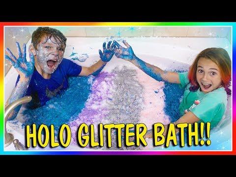 HOLO GLITTER BATH CHALLENGE! | We Are The Davises