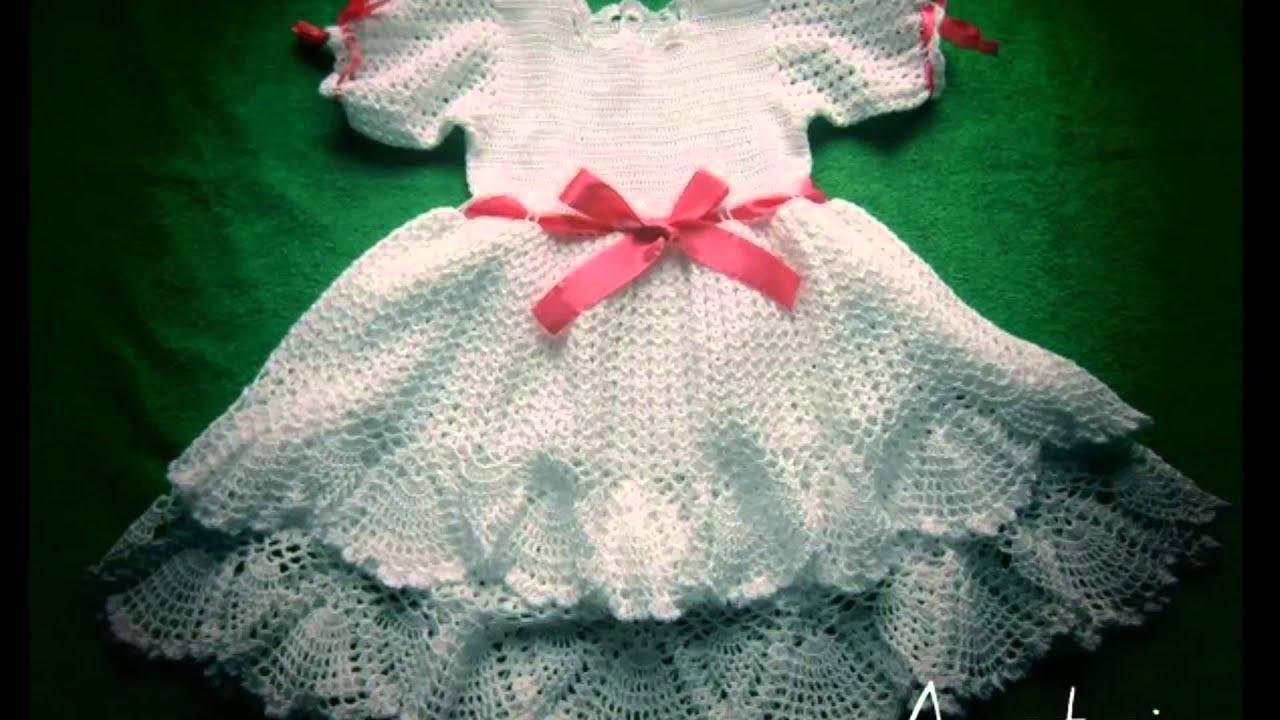 Vestidos a crochet para bebe recien nacido