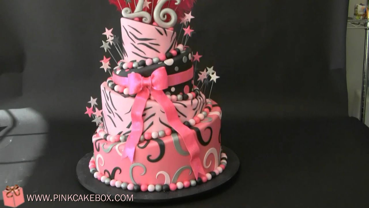 Sweet 16 Zebra Birthday Cake