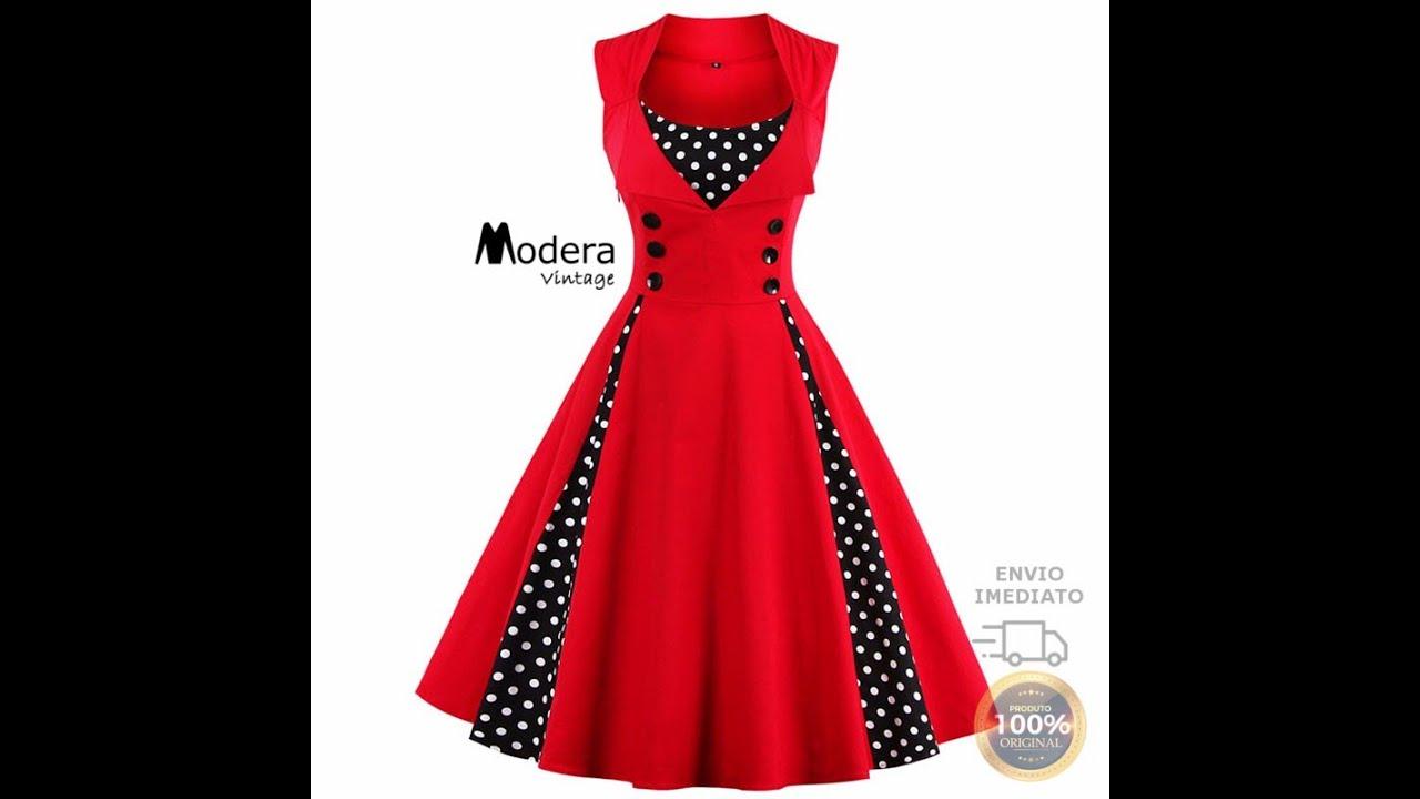 Vestido Feminino Retrô De Bolas Anos 60 Vintage Pin01 E 02 Modera Vintage