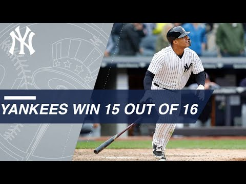 Yankees win 15 out of 16 for first time since 1980