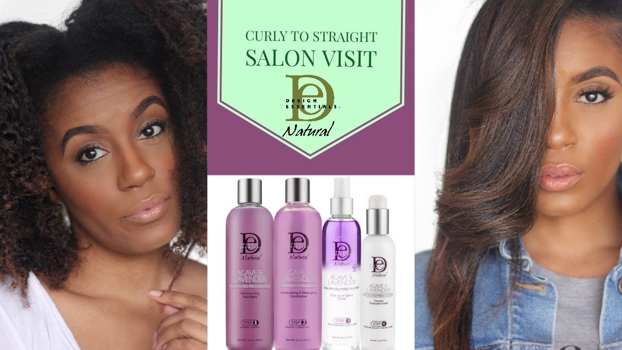 Curly To Straight With Design Essentials Agave And Lavender