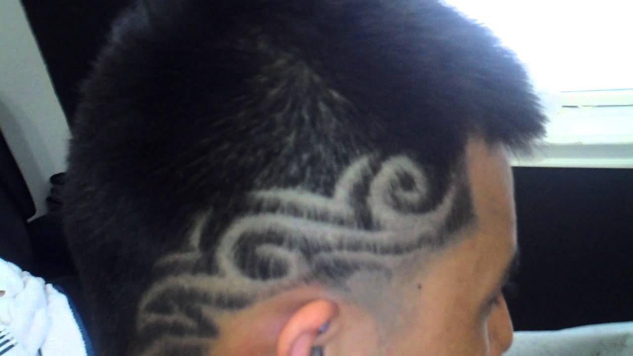 taper -cut mohawk with hair tattoo