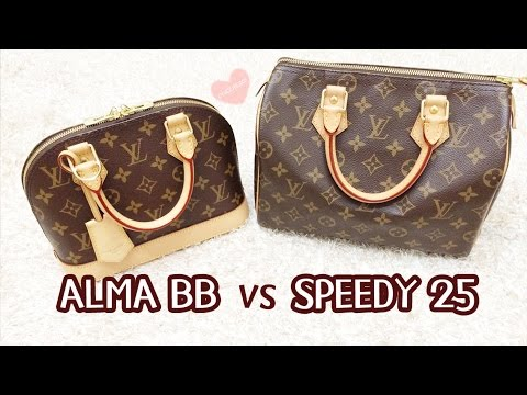 What Fits Inside Louis Vuitton Alma Bb Vs Speedy 25 Comparison Speedy B 25 Youtube