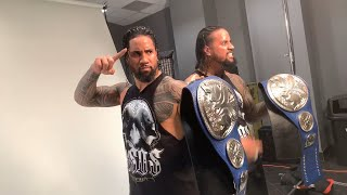 The Usos pose for a photoshoot with the SmackDown Tag Team Titles: WWE Exclusive, Feb. 19, 2019